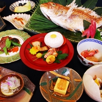 天然紅葉鯛の塩焼きと広島牛会席