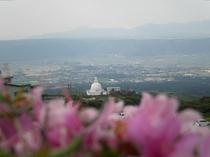 阿蘇仙酔峡より見下ろす仏舎利塔