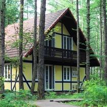 森の中に、3棟のコテージと専用のレストラン棟からなります。