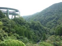 山間の中の河津七滝ループ橋