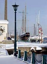 雪の日の「箱館丸」の復元模型