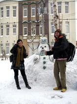 雪だるまと記念撮影♪
