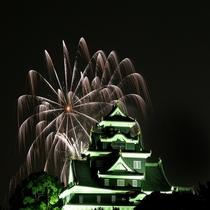 岡山城 花火・夜
