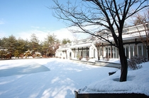 ANNEX棟に面した屋外プール(冬