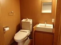 シングルの洗面とトイレ
