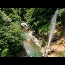当館そばの噴泉橋のたもとの間欠泉。約30~50分の間隔を置いて1~2分、蒸気を上げて噴出します
