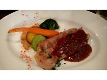 夕食「信州ポークのステーキ」