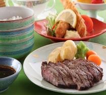 三梨牛ステーキ定食