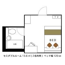 セミダブルルーム 2名利用 13.6㎡ 120cmベッド