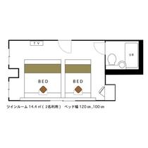 ツインルーム 2名利用 14.4㎡ 120cmと100cmベッド