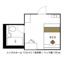 シングルルーム 1名利用 13.6㎡ 120cmベッド