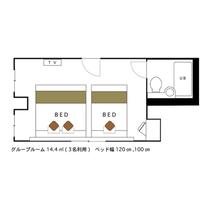 グループルーム 3名利用 14.4㎡ 120cmと100cmベッド