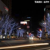 冬の間、香林坊の街路樹がイルミネーションで飾られます。
