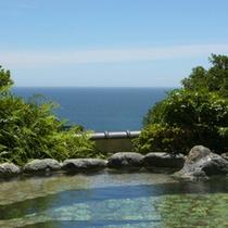 *女性展望露天風呂。緑の奥には海が広がります。