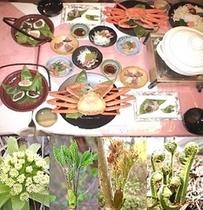 日本海の幸鍋とズワイ蟹&笹寿司、山菜