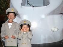 新幹線乗務員の制服を着て記念撮影♪