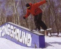 スノーボードでレール