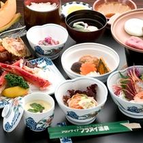 *【美食上膳】旬な食材を使用した和食膳に、かみふらの産の名産、豚肉陶板焼きが付いています。
