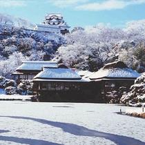 彦根城 冬の庭園から当館を望む