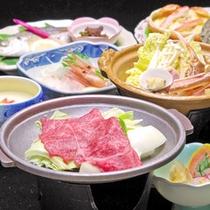 *【夏の定番】料理一例。海の幸色々&黒毛和牛の陶板焼きがついたお料理。価格もお手軽です。