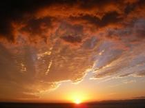 宿からの夕陽