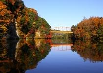 紅葉と赤い橋