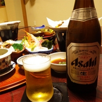 *夕食一例/ビールで乾杯♪おいしい地元のお米と郷土料理をお楽しみください♪