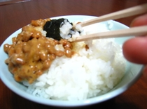 朝食-納豆ごはん