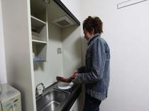 キッチン(IH1口)冷蔵庫・レンジ・炊飯器・電子ポット・トースター・調理器具・食器類等ユニットタイプ