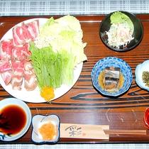 *【夕食一例/鹿しゃぶ】新鮮でヘルシーな鹿肉をしゃぶしゃぶしてお召し上がりください。