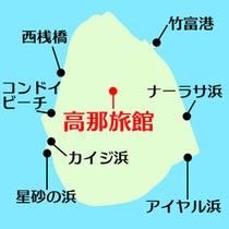 *【観光地図】島内にはいくつものビーチが点在。そのほか、徒歩3分になごみの塔もございます。