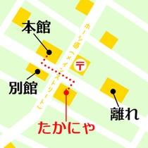*【たかにゃ地図】本館の斜め向かいで気軽に立ち寄れるお店。喫茶のほか、お土産店も併設されています。
