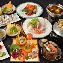*【夕食】グレードアップ会席は黒毛和牛も海鮮鍋も同時にご堪能いただけます。
