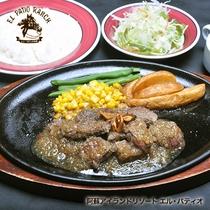 【あか牛カットステーキディナー】溢れる肉汁お肉の焼ける香ばしさがたまらない。