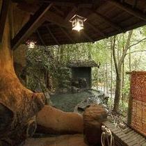 露天風呂(岩)〜びわの湯につかり、大自然の四季の風情を体感できます〜
