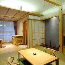 風待草(かぜまちぐさ) 源泉掛け流しの温泉風呂付きのお部屋です。
