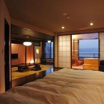 【プレジデンシャルスイート「美湖の雫」】諏訪湖を望む露天風呂付客室で過ごす極上の時間