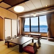 【詩季亭◇和室10畳】 湖側。諏訪湖に癒され美景を望む。