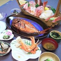 *料理一例/標準コース。当館のスタンダードなご夕食です。網元の味わい『豊漁の膳』をご賞味ください。