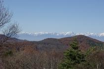 コテージからの北アルプスの眺望