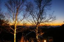 北アルプスの落陽