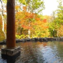 紅葉を眺めながらの湯あみ