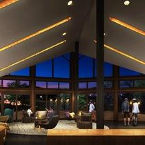 <グランエレメント>アストラル(メイン棟)夜はライトアップされた幻想的な眺めもお楽しみいただけます