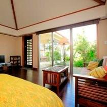 *【芭蕉】ベッドルーム。海の眺望は東屋からに限られますがその分リーズナブル!リピーターに人気です。