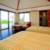 *【月桃】ベッドルームとパウダールーム、両方からオーシャンビューを堪能出来るお部屋です。