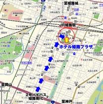 地図:BP姫路南〜ホテル