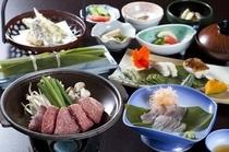 ご夕食は、飛騨の陶板焼きをメインに地元の食材を使い、手作りにこだわった奥飛騨の郷土料理。