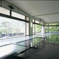 ホテル紅葉館の大浴場 開放感あふれるパノラマの風景をお楽しみください