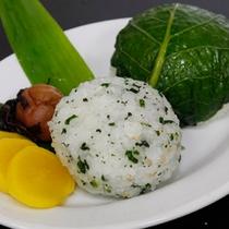 名物野沢菜のおにぎりです。