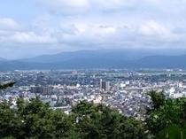 足羽山公園からの市内眺望(遠くには白山が)